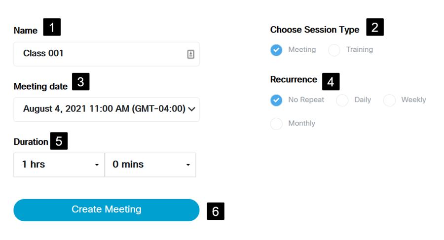 Screenshot: Meeting Set Up