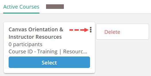 Screenshot: Delete past courses