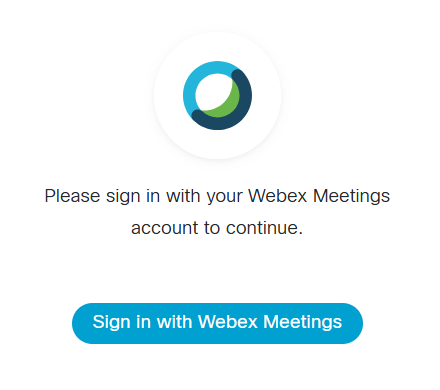 Screenshot: Sign in to Webex Meetings