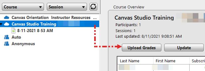 Screenshot: Upload grades