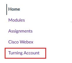Screenshot: Turning Account Canvas course nav