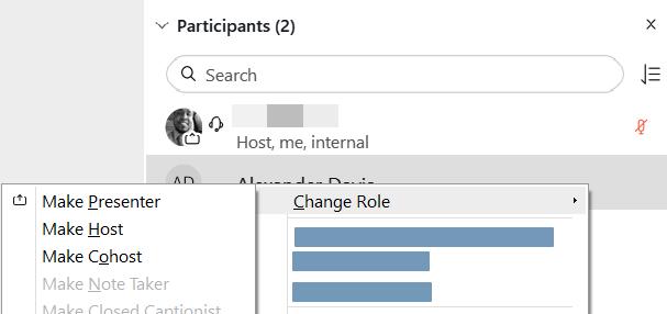 Screenshot: Change Participant Role