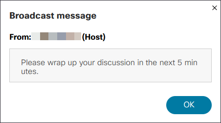 Screenshot: Example of brodcast message