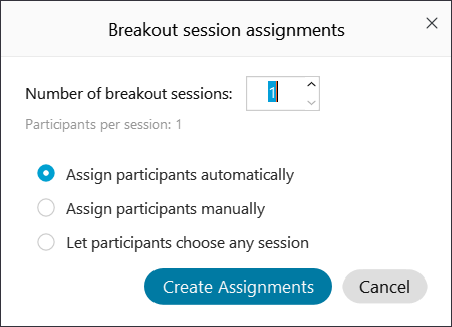 Screenshot: Numeber of breakout sessions