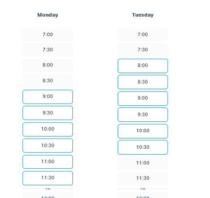 Image of Webex Office Hours selection menu.