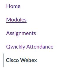 Screenshot: Webex Canvas Course nav