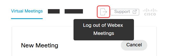 Screenshot: Log out of Webex