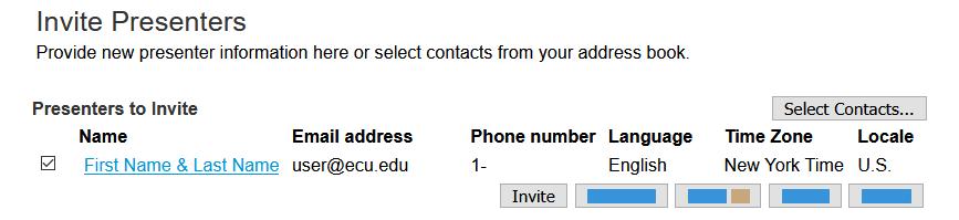 Image: Invite Presenters button
