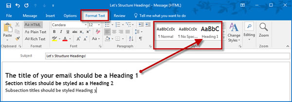 highlight the title and click a heading style
