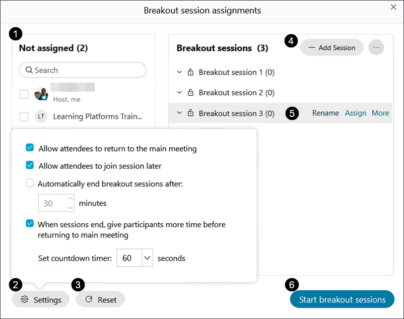Screenshot: Breakout session assigments