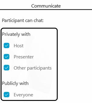 Screenshot: Communicate Privileges