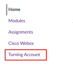 Screensshot: Turning Account Canvas course nav