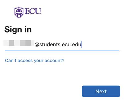 Screenshot: ECU sign in email.