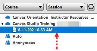 Screenshot: Imported session file