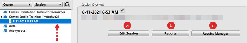 Screenshot: Manage sessions options