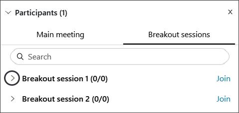 Screenshot: Breakout sessions panel