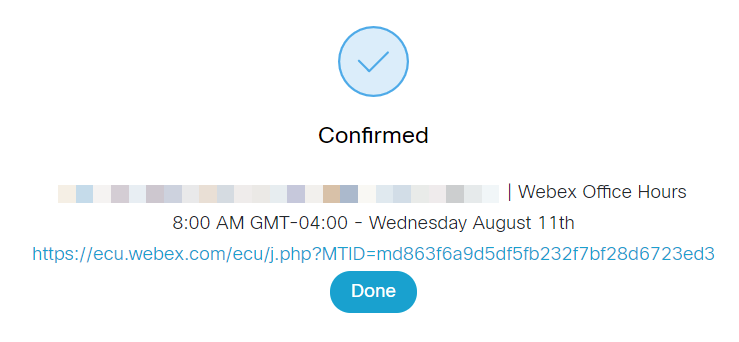 Screenshot: Confirmation Message Example